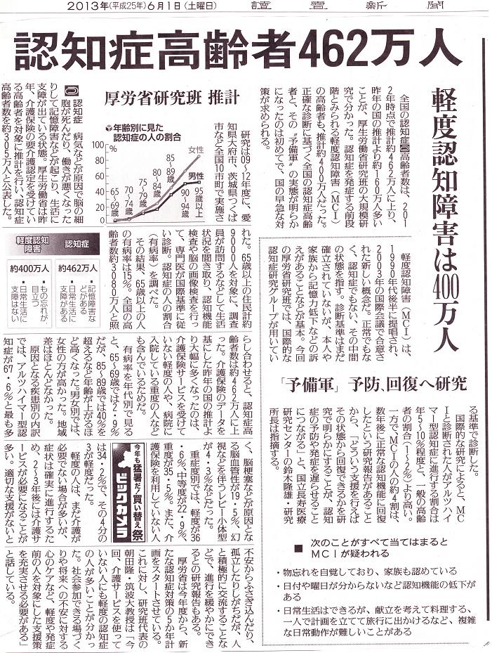平成25年6月1日読売新聞。認知症高齢者462万人、軽度認知障害(MCI)は400万人と発表されました。