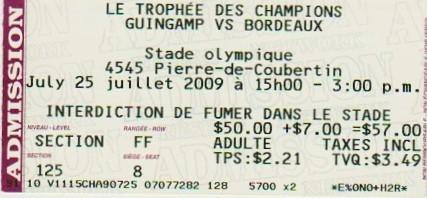 2009 à Montréal : Girondins Bordeaux bat EA Guingamp 2 - 0