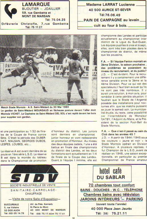 Article présentation du Stade Montois 1980 (B)