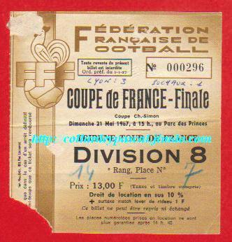 1967 : Ol. Lyon bat FC Sochaux M  3 - 1