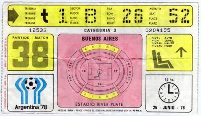 Finale Coupe du Monde 1978 : Argentine - Pays Bas (Argentine)