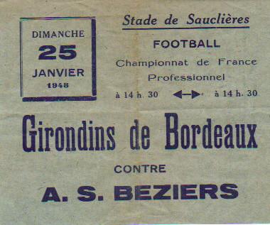 Vieille affichette Match des Girondins