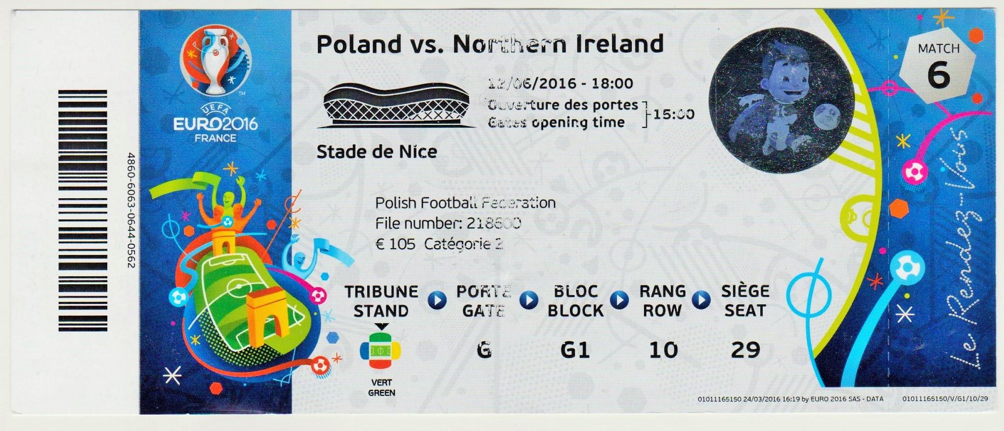 12/06/2016  Nice : Pologne  1 - 0  Irlande Nord  >  Milik (Pol) <