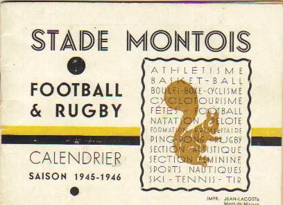 calendrier du Stade Montois après guerre