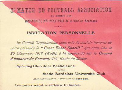 25/12/1918 : SC Bastidienne  - Stade Bordelais