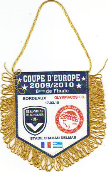 """Pas de Production """"Officielle"""" 1er Tour 2009/10, ici Bordeaux - Olympiakos FC 1/8éme de Finale"""
