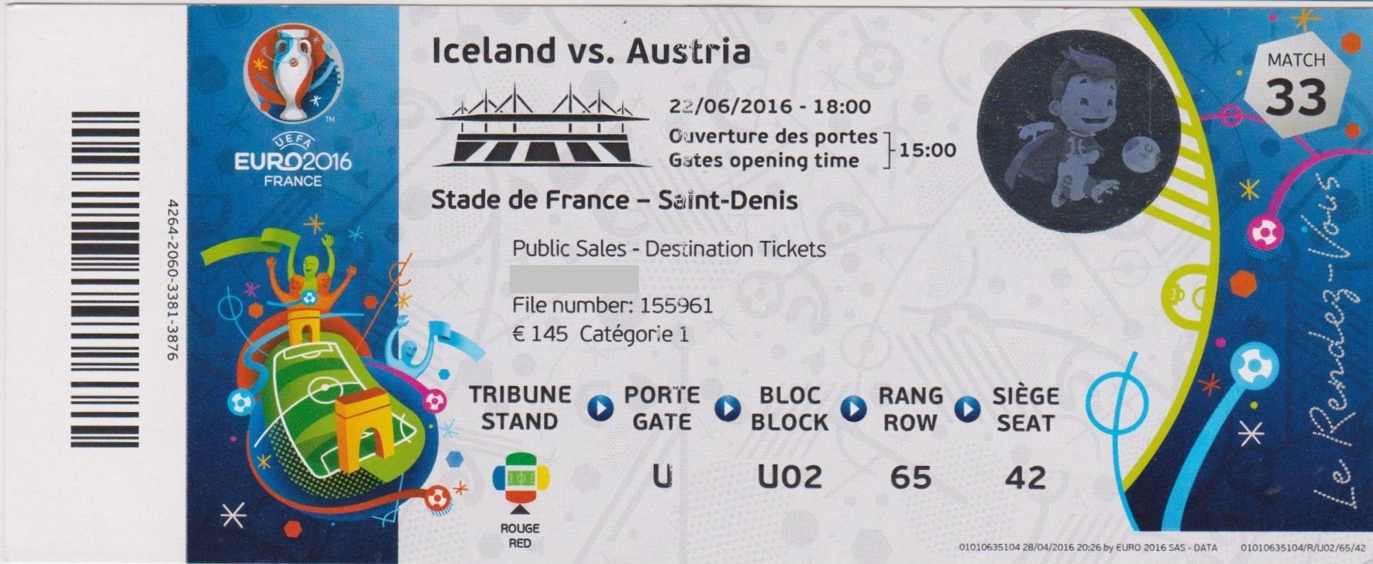 22/06/2016  St Denis :  Islande  2 - 1  Autriche  > Bödvarsson, Traustason (Isl) -- Schöpf  (Aut) <