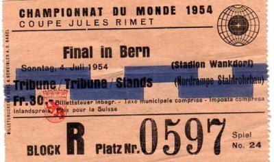 Finale Allemagne - Hongrie (Suisse 1954)