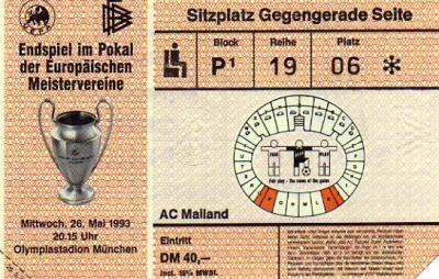 1993 à Munich :  Olympique de Marseille - Milan AC  1 - 0