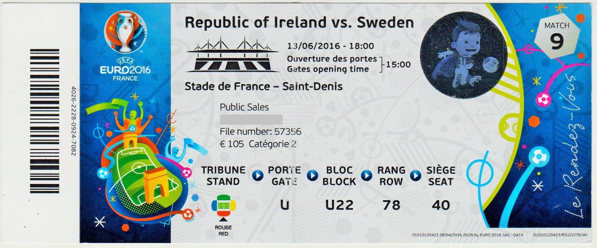 13/06/2016 St Denis : Rep. Irlande  1 - 1  Suède  > Hoolahan  (Irl) --  Clark -csc- (Sue)