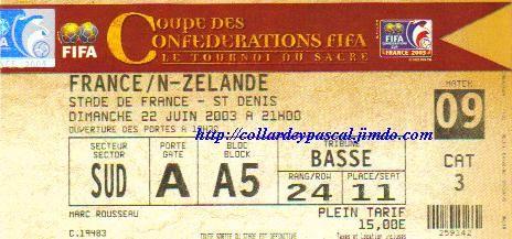 Coupe Confédérations 2003 : France - Nlle Zélande