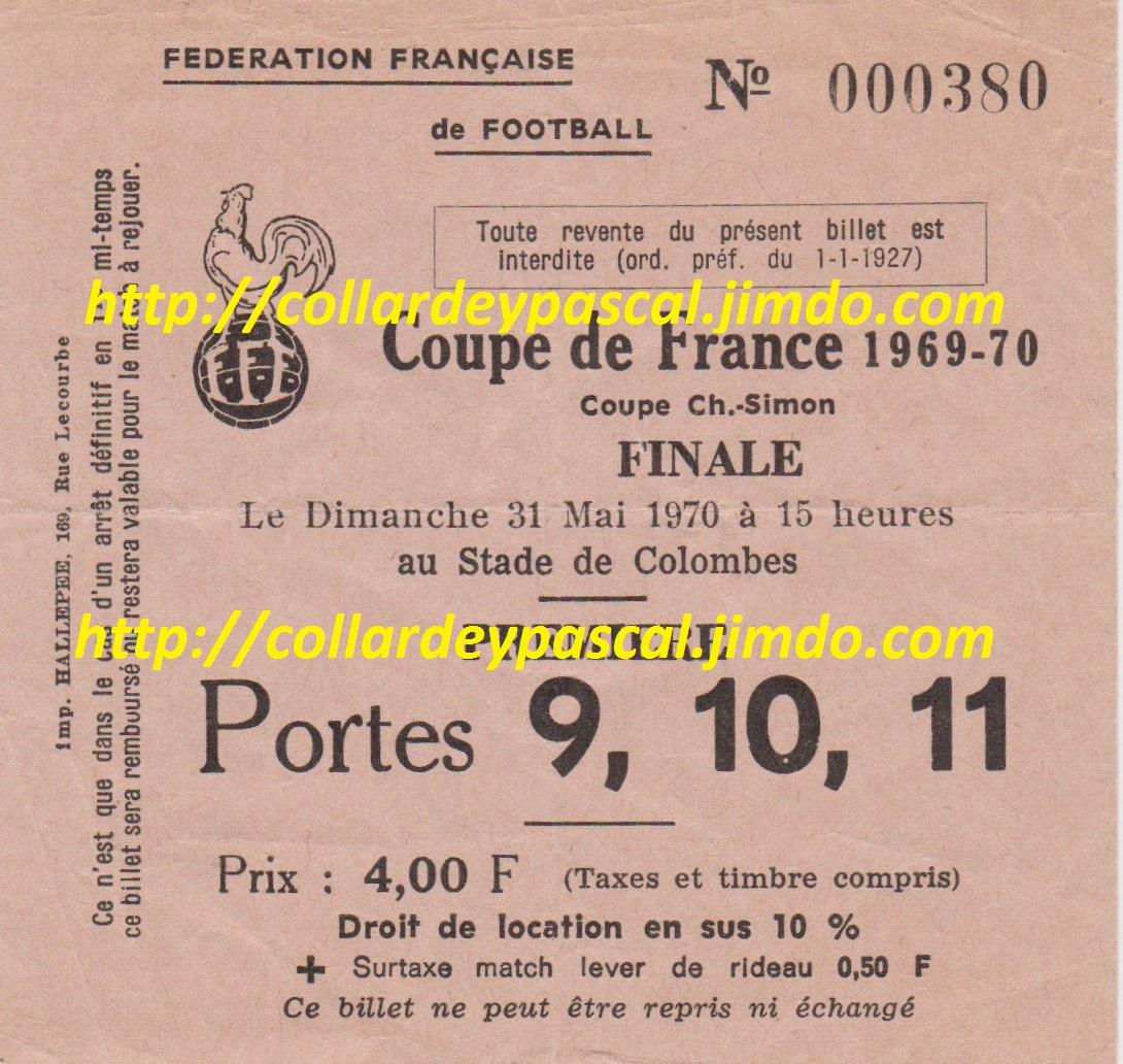 Finale 1970 AS St Etienne 5 - 0 FC Nantes (2éme modéle)
