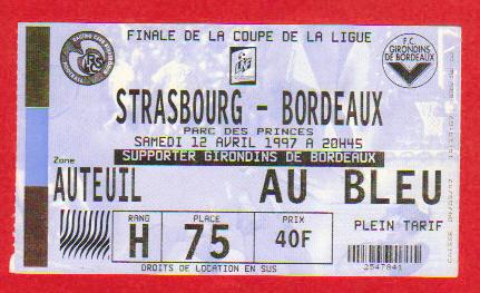 Finale 1997 RC Strasbourg 0 - 0 (6-5 tab) Girondins Bordeaux