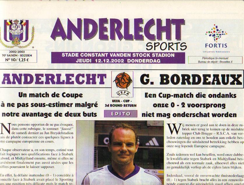 RSC Anderlecht  - Girondins Coupe Uefa