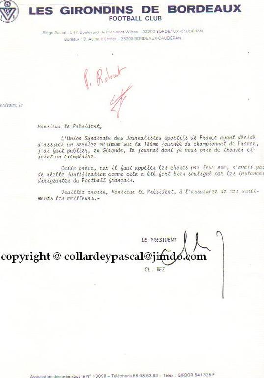 Rare courrier du Président Claude Bez