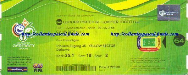 France - Italie Finale de la Coupe du Monde 2006 en Allemagne