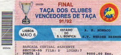 1992 à Lisbonne : Werder Brême - AS Monaco  2 - 0