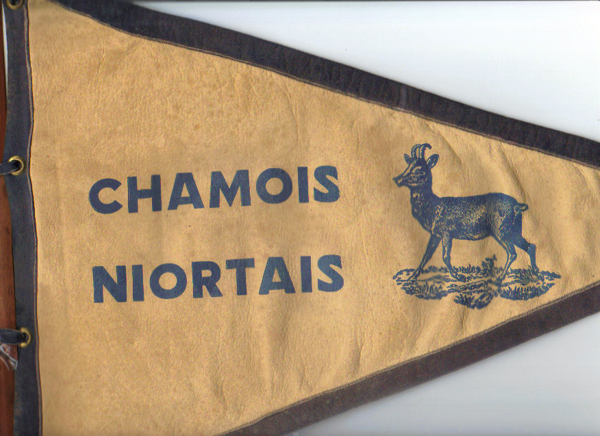 Très rare fanion en peau des Chamois Niortais