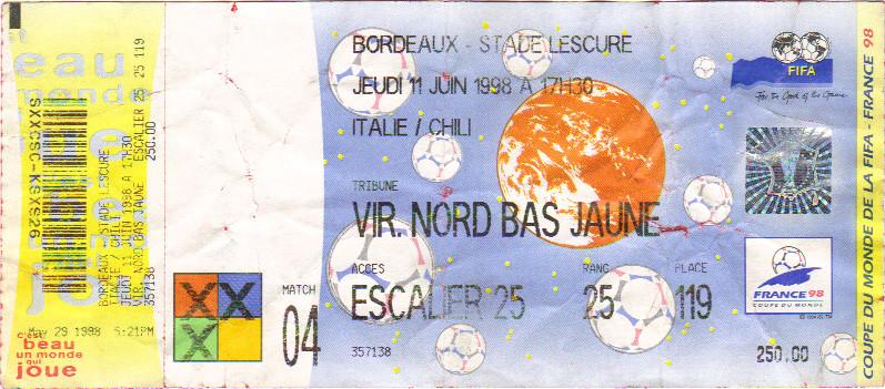 FAUX Billet de la Coupe du Monde 1998