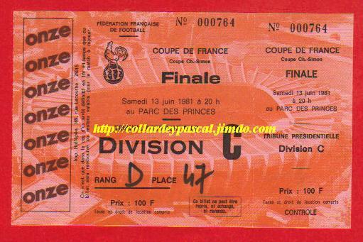 1981 : SEC Bastia bat AS St Etienne 2 - 1