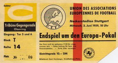 1959 à Stuttgart : Réal Madrid - Stade de Reims  2 - 0