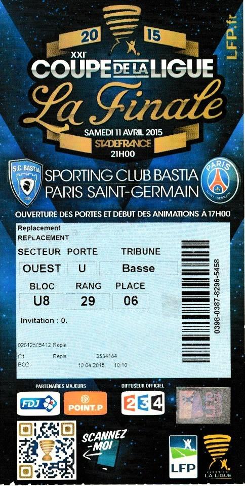 Finale 2015 Paris SG  4 - 0  SC Bastia