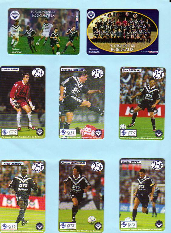 Télécartes Girondins Saison 99