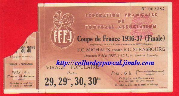 1937  FC Sochaux M bat RC Strasbourg 2 - 1