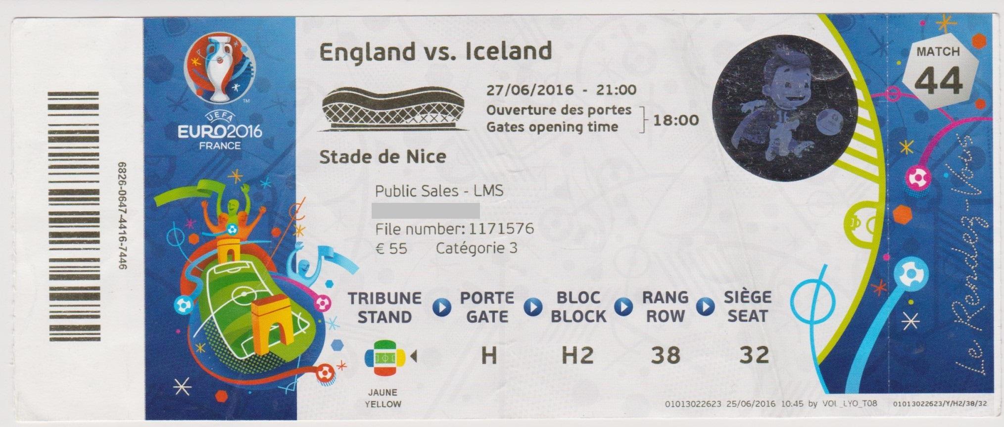 27/06/2016  Nice :  1/8 Fin  Islande  2 - 1  Angleterre  > R. Sigurdsson, Sigthórsson (Isl) -- Rooney (Ang) <