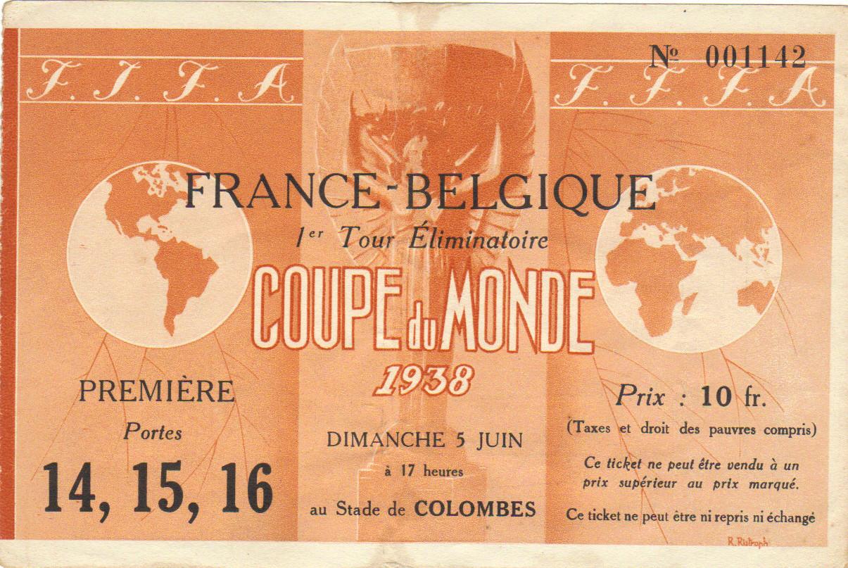 1/8 de Finale France - Belgique (France 1938)