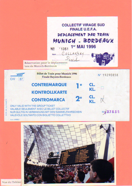 Cartes déplacement Munich - Bordeaux, Finale Uefa 96