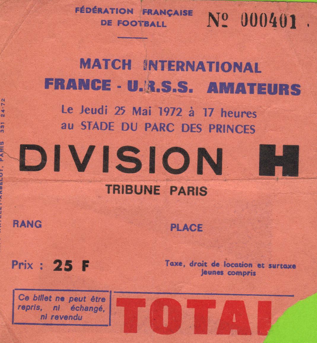 France - URSS Amateurs, Inauguration du Nouveau Parc des Princes