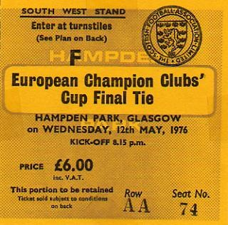 1976 à Glasgow :  Bayern Munich - AS St Etienne  1 - 0