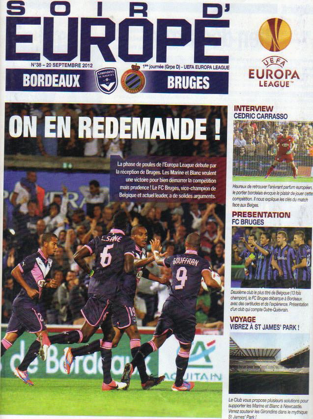 Girondins - FC Bruges Ligue Europa 2012/13 (Pas de programme du match à Bruges)