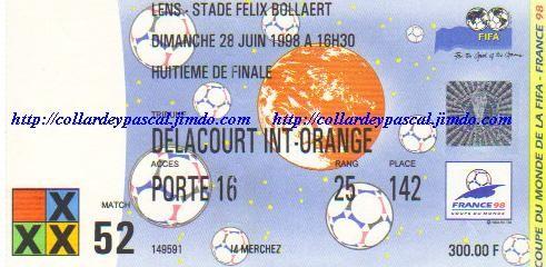 France  - Paraguay 1/8émes de Finale (France 1998)