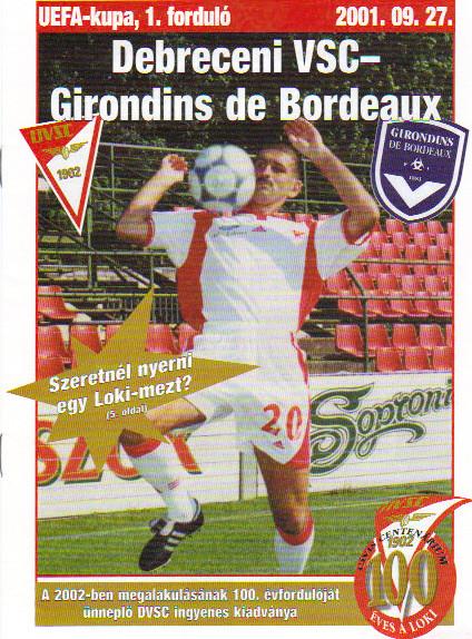 FC Debrecen - Girondins Coupe Uefa, pas de programme de match à Bordeaux