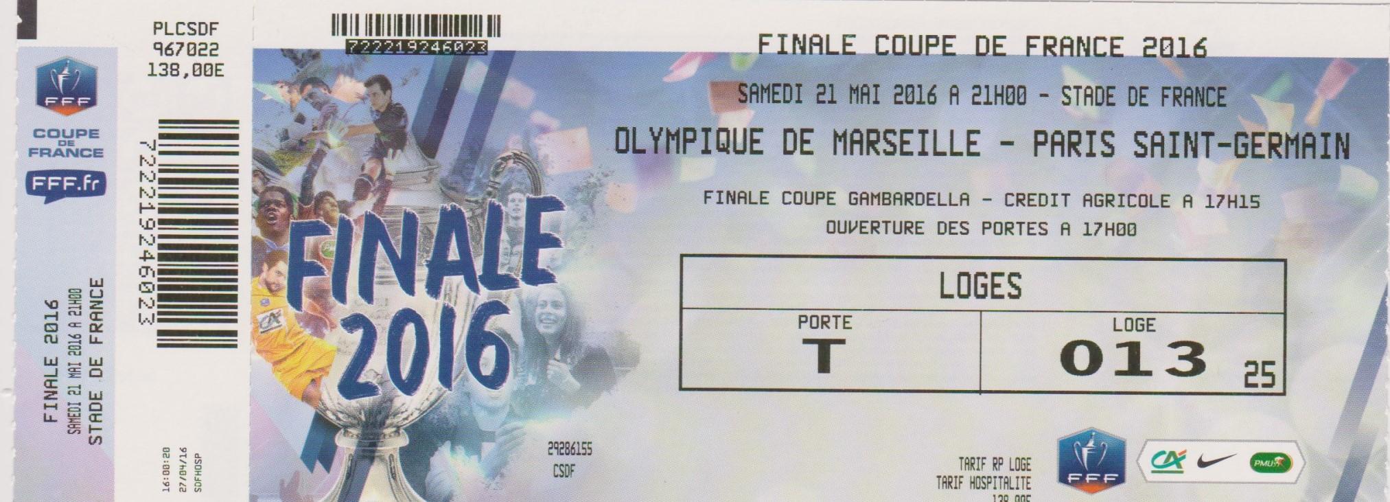 2016 : Paris SG bat Olympique Marseille  4 - 2