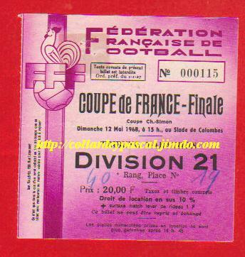 1968 : AS St ETienne bat G. Bordeaux  2  - 1