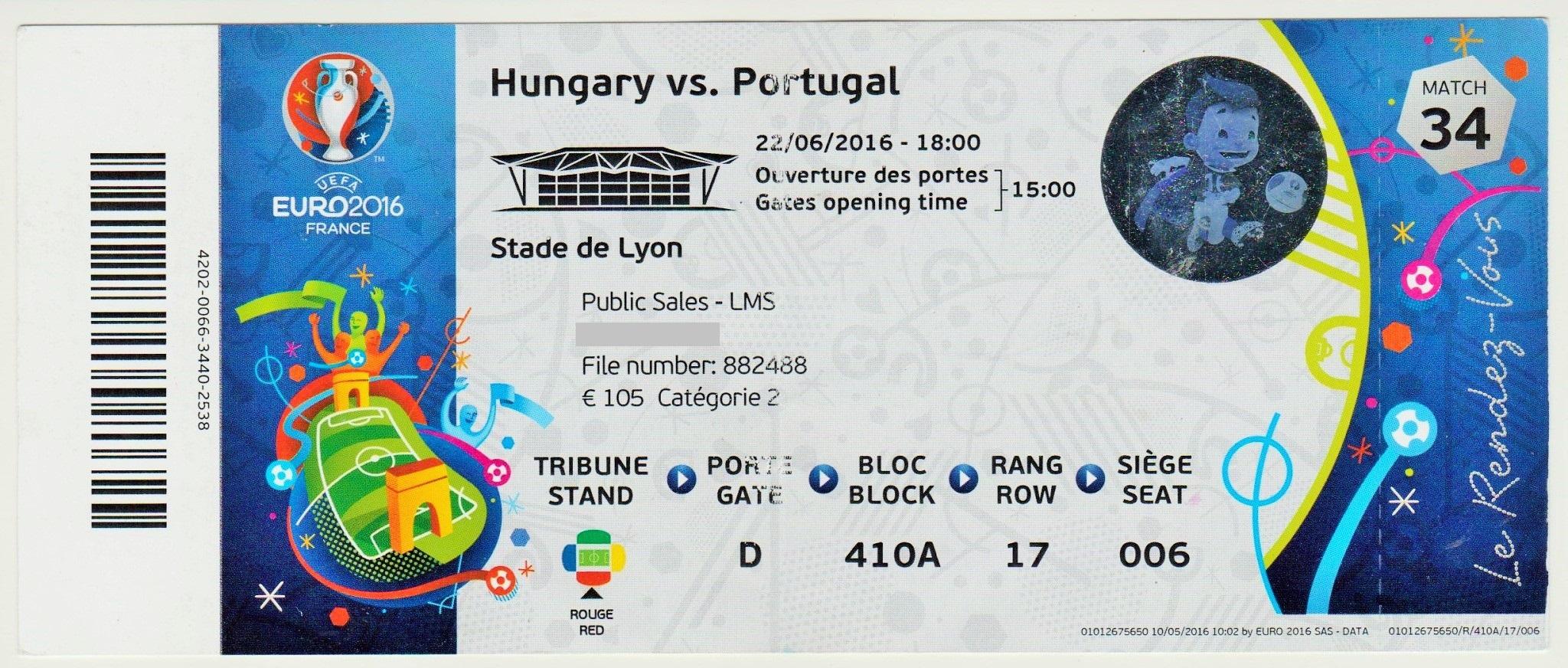 22/06/2016  Lyon : Hongrie  3 - 3  Portugal  > Gera, Dzsudzsak x 2 (Hon) -- Nani, Ronaldo x 2 (Por)  <