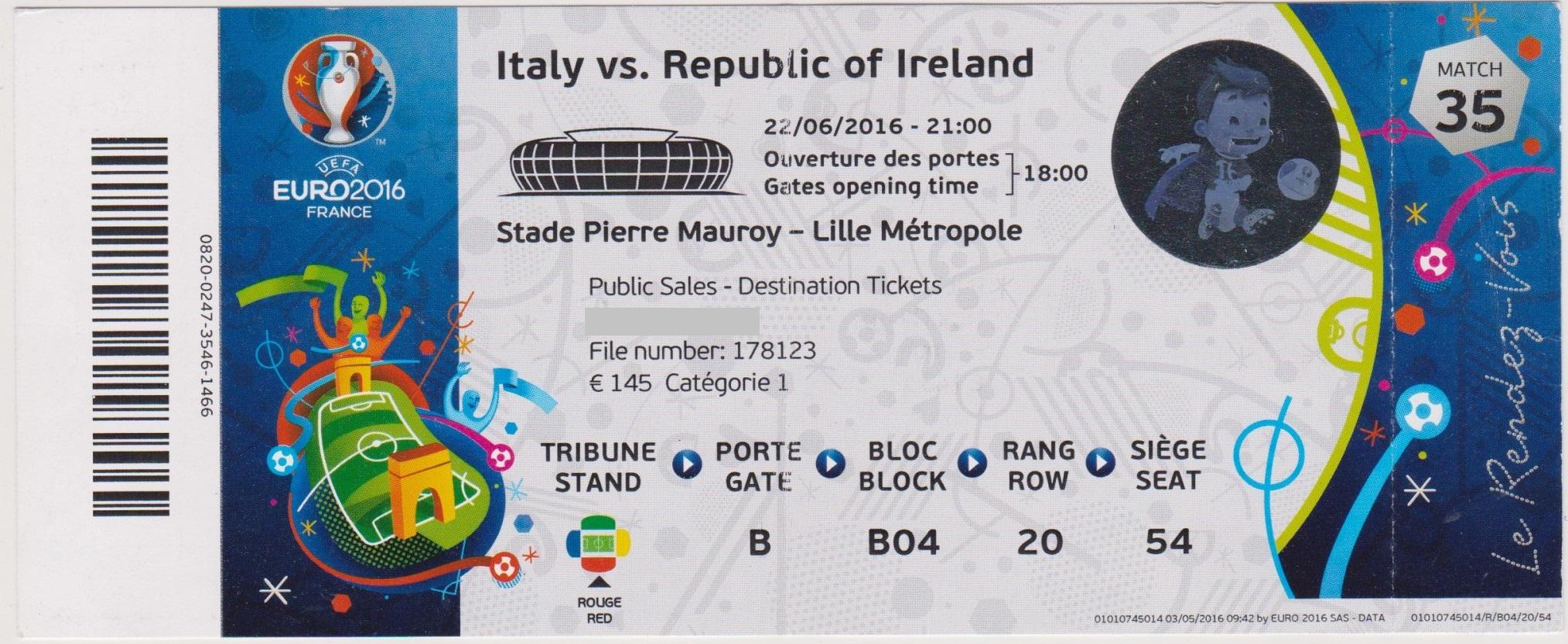 22/06/2016  Lille :  Irlande  1 - 0  Italie  > Brady (Irl) <