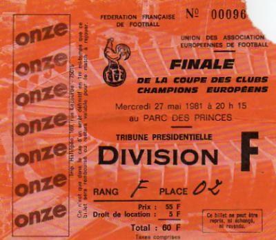 1981 à Paris :  Liverpool FC - Réal Madrid  1 - 0