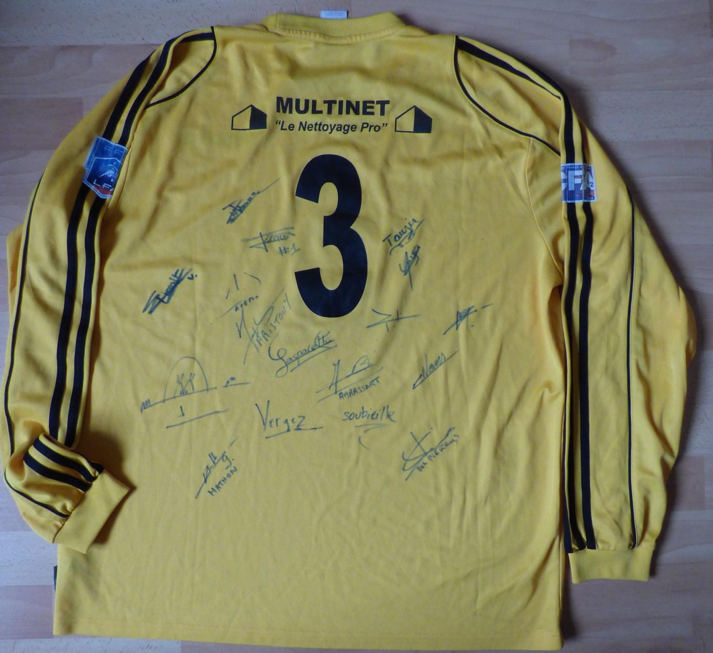 Maillot Montée CFA 2011, dédicacé équipe saison 2011/12