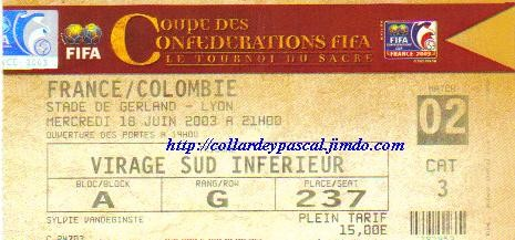 Coupe Confédérations 2003 : France - Colombie