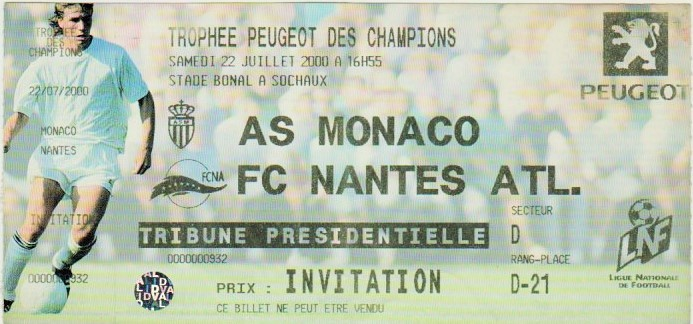 2000 à Sochaux : AS Monaco bat FC Nantes 0 - 0  (6.5 tab)
