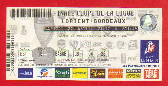 Finale 2002 Girondins Bordeaux 3 - 0 FC Lorient