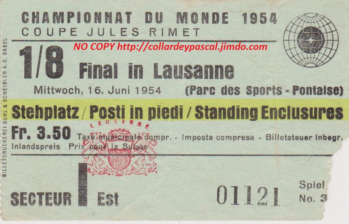 1/8 Yougoslavie - France (Suise 1954)