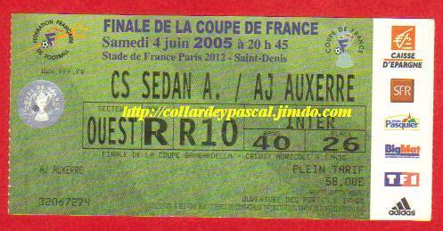 2005 : AJ Auxerre bat SC Sedan  2 - 1