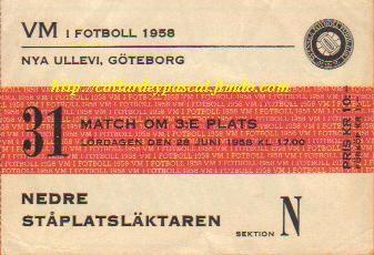 France - Allemagne del'Ouest Finale 3/4émes Places  (Suéde 1958)
