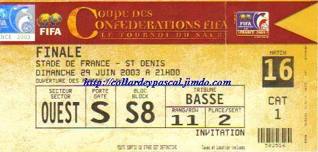 Coupe Confédérations 2003 : Finale France -  Cameroun, La France remporte le Trophée