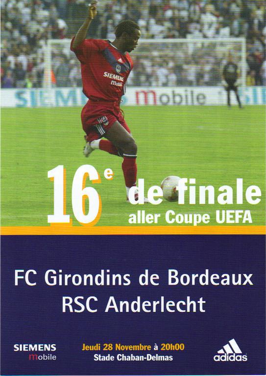 Girondins - RSC Anderlecht  Coupe Uefa